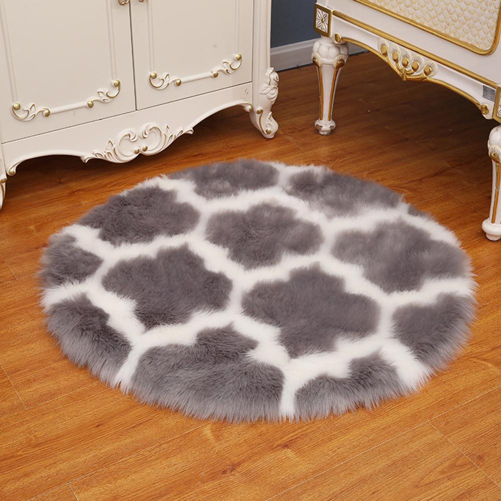 Fuzzy Rug Area  Rug Round Floor Mat Carpet For Bedroom Living Room Home Decor Gray lantern with white edge_80cm in diameter