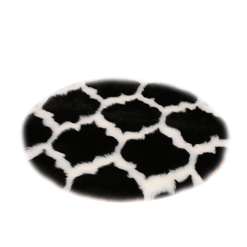 Fuzzy Rug Area  Rug Round Floor Mat Carpet For Bedroom Living Room Home Decor Black lantern with white edge_80cm in diameter