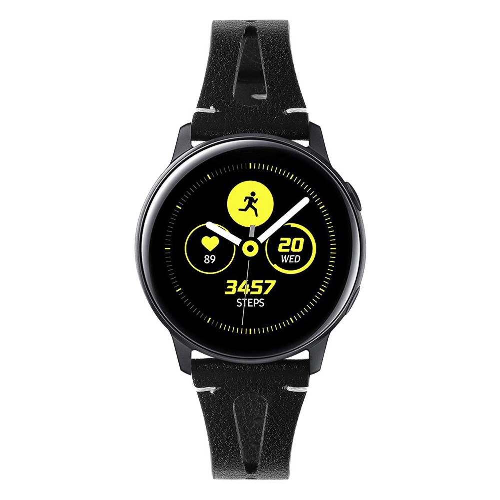 Smart Watch First Layer Cow Leather Leather Straps for Sumsung Galaxy Watch Active Watch black