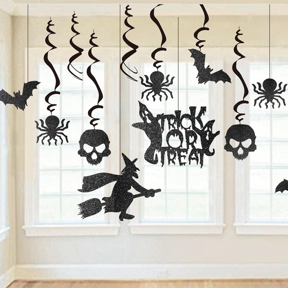 13Pcs/Set Black Glitter Skull Spiders Hanging Pendant for Halloween Party Decoration