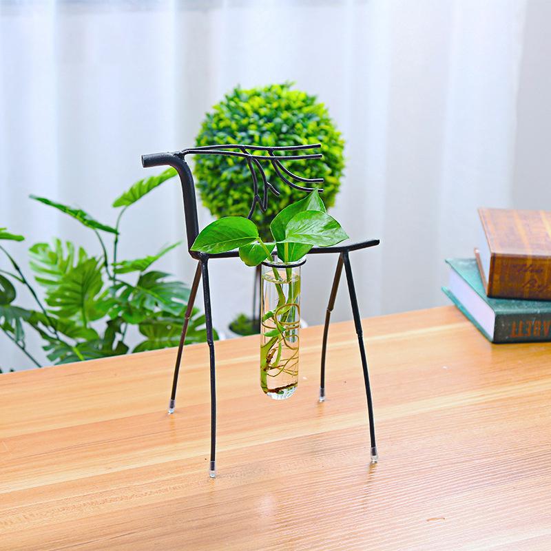 Stylish Transparent Creative Plant Glass Container Simple Fawn Single Bottle Flower Pot Desk Decor