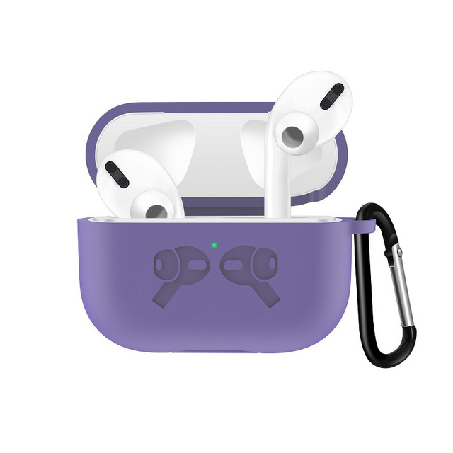 Silicone Case for AirPods Pro Travel Earphone Storage Bag Pattern Printed Headset Cover with Hook for Easy Carrying purple