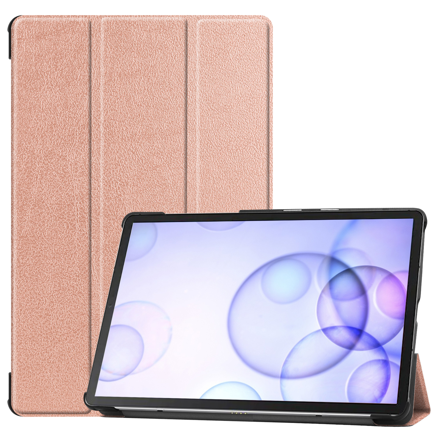 For Sumsung S6 TAB S6 10.5Inch T860 Fall Resistant 3Folding Smart Stay Laptop Protective Case Rose gold_TAB S6 2019 T860