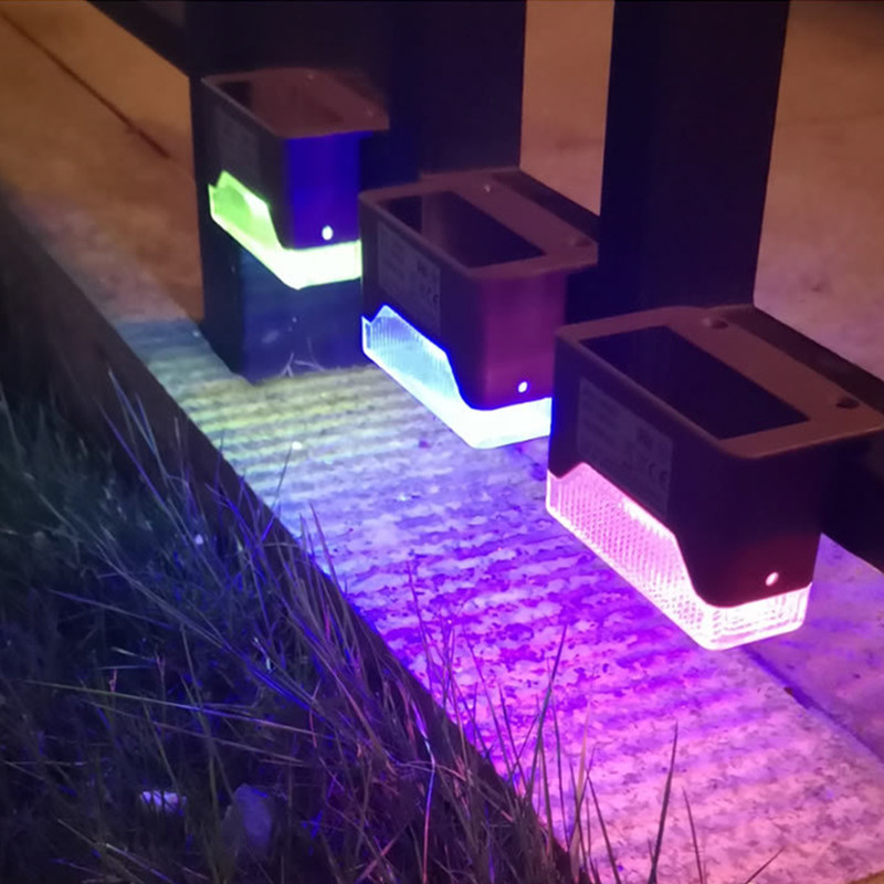 4PCS LED RGB 7Colors Change Solar Outdoor Waterproof Wall Light for Garden Yard Fence RGB