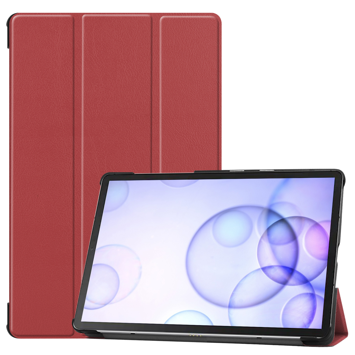 For Sumsung S6 TAB S6 10.5Inch T860 Fall Resistant 3Folding Smart Stay Laptop Protective Case Red wine_TAB S6 2019 T860