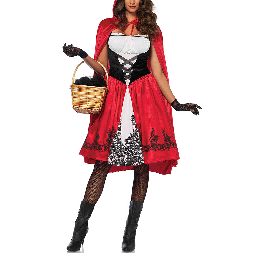 Women Large Size Halloween Costume Little Red Riding Hood Oktoberfest Cool Costume red_S