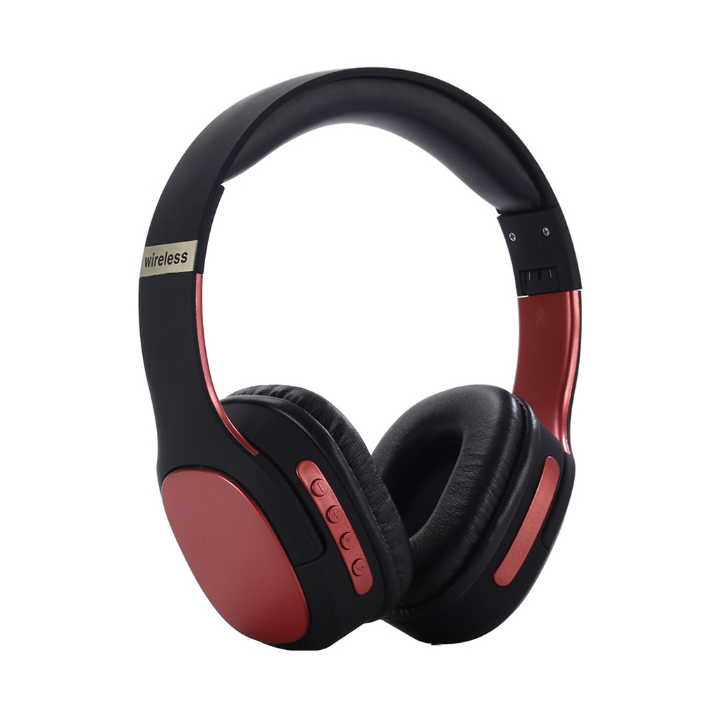 BT5.0 Headset Head-mounted Sports Foldable Multicolor Wireless Headset Phone Headset red