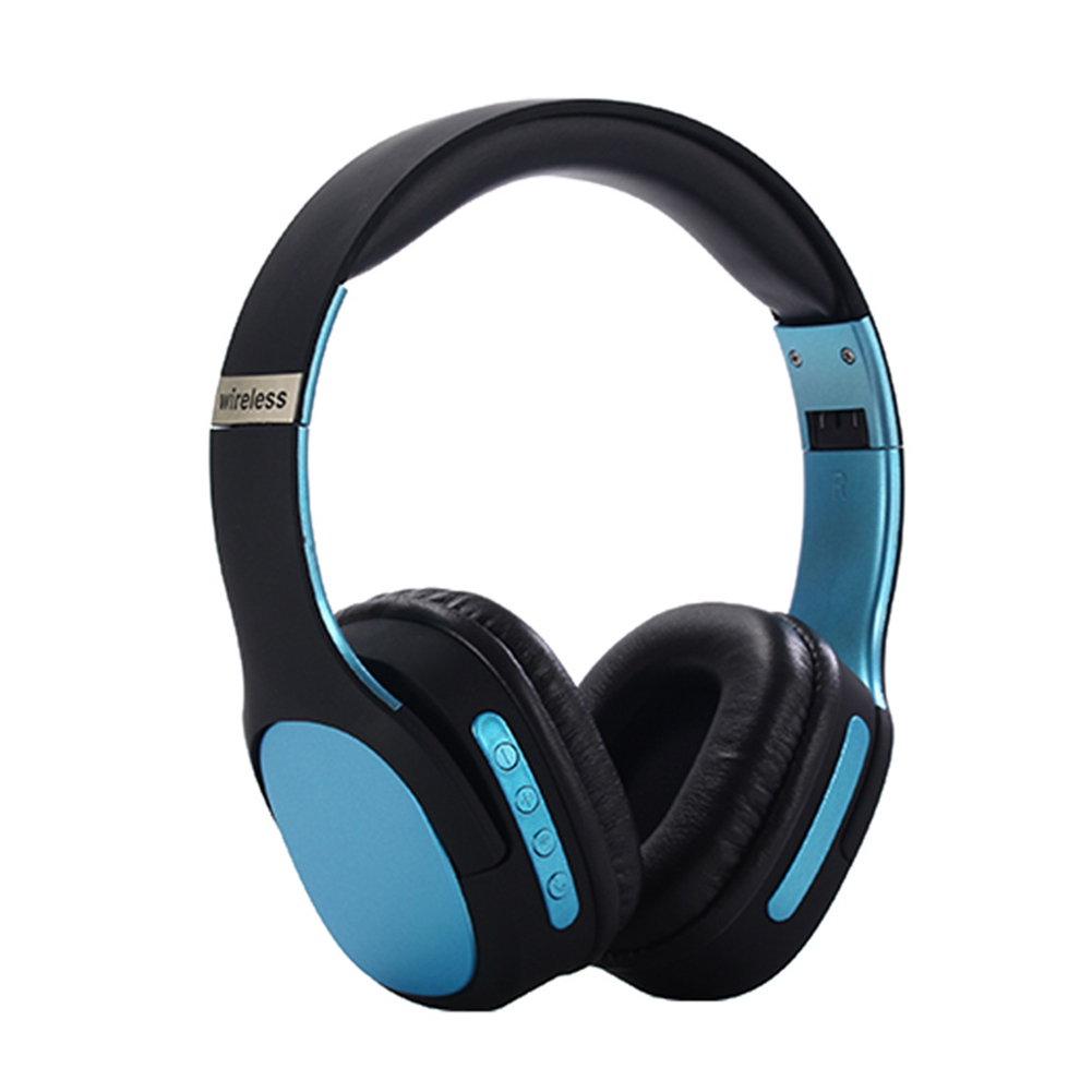 BT5.0 Headset Head-mounted Sports Foldable Multicolor Wireless Headset Phone Headset blue
