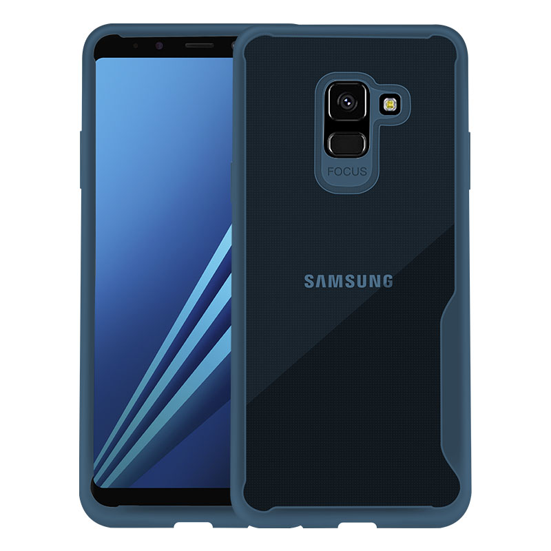 For Samsung A8 2018/A530 Ultra Slim Translucent Back Cover Non-slip Shockproof TPU Full Protective Case  Transparent Blue