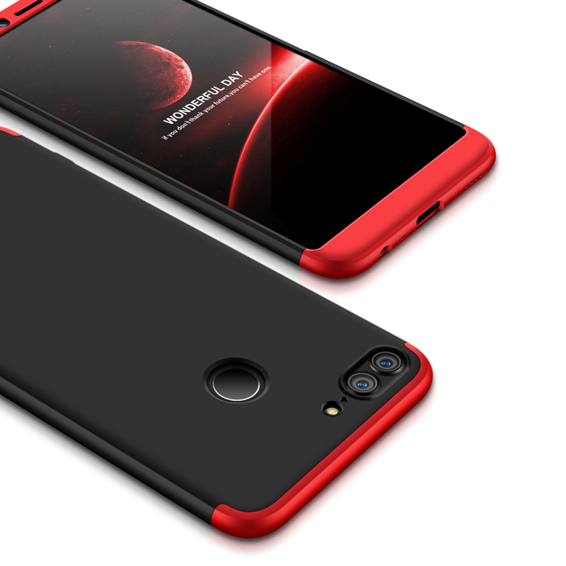 For HUAWEI Honor 9 Lite Full Body 360 Degree Protection PC Back Cover  Red black red