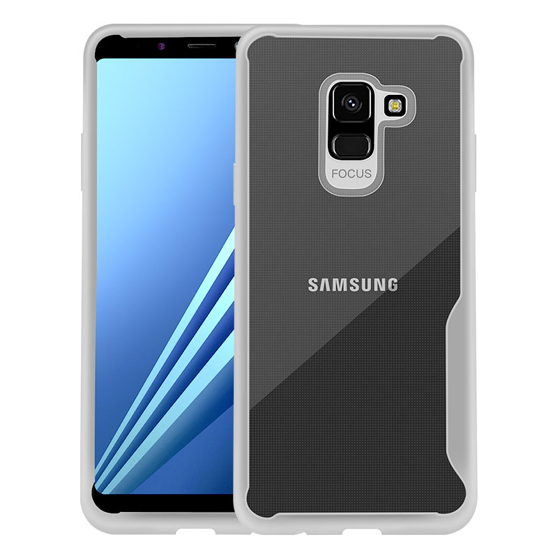 For Samsung A8 2018/A530 Ultra Slim Translucent Back Cover Non-slip Shockproof TPU Full Protective Case  Transparent White