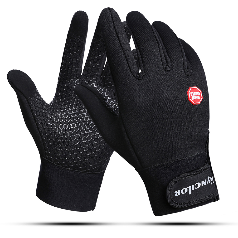 Windproof Sports Gloves Touch Screen Gloves Hook and Loop Fasteners Climbing Cycling black_L