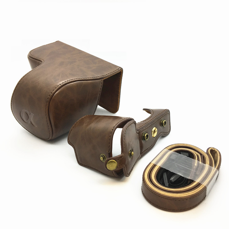 Leather Camera Case for Sony A6400 ILCE-6400 Camera Protective Bag with Shoulder Strap Outdoor Travel Shell coffee