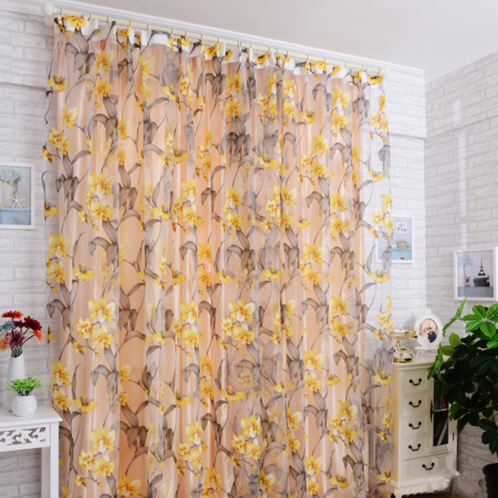 Window Curtain Tulle with Yellow Floral Printing for Bedroom Living Room Balcony  1.4m wide * 2.4m high_Yellow interlining