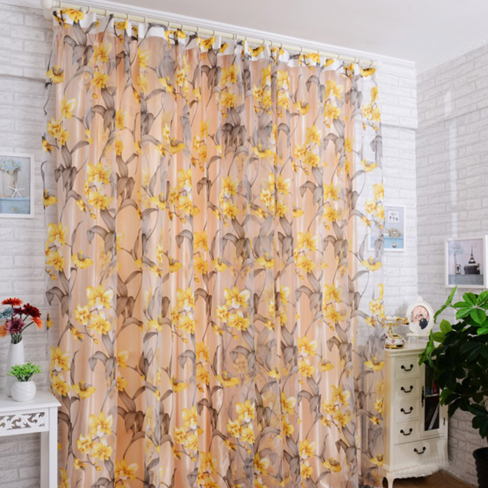 Window Curtain Tulle with Yellow Floral Printing for Bedroom Living Room Balcony  1m wide * 2m high_Yellow interlining