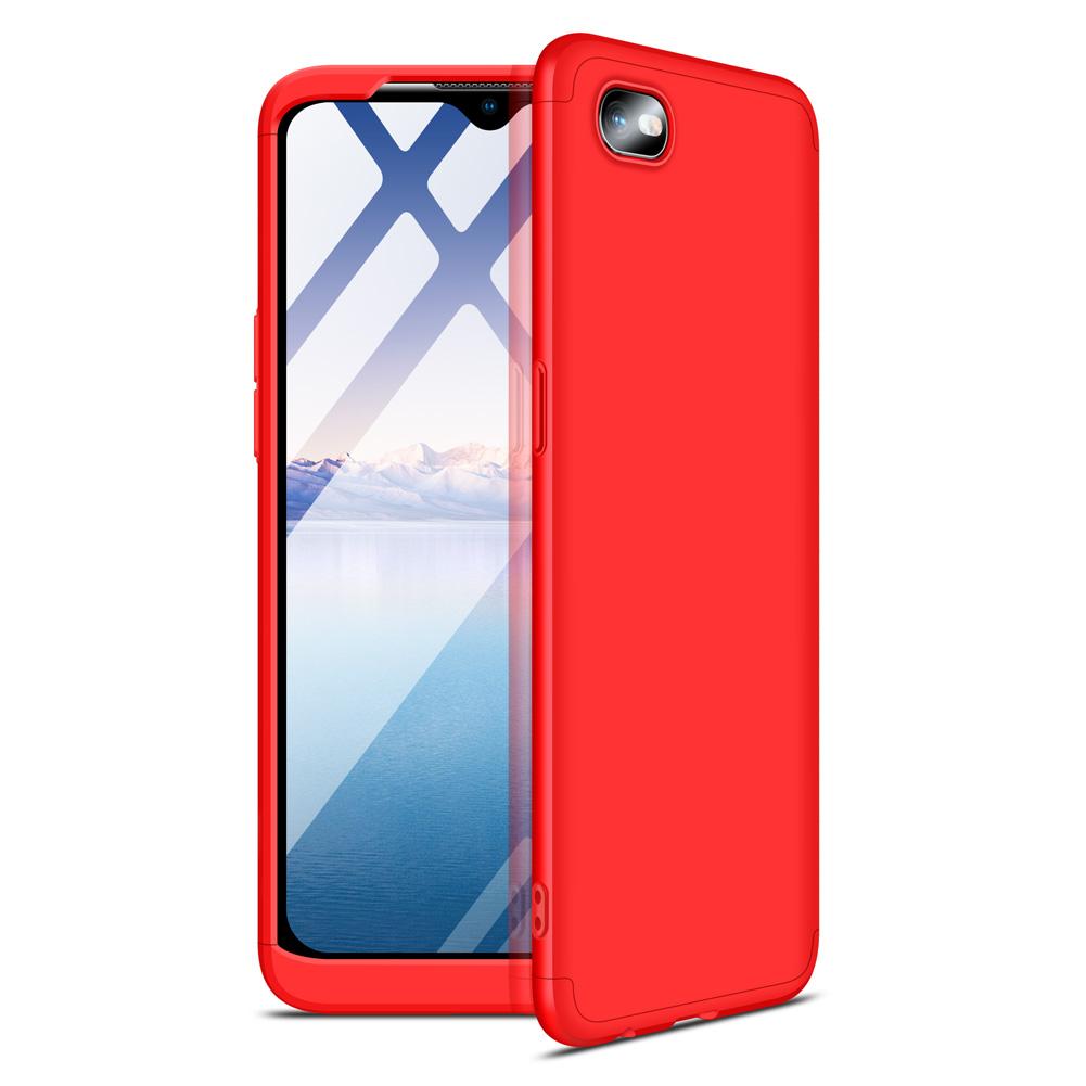 For OPPO Realme C2 Ultra Slim PC Back Cover Non-slip Shockproof 360 Degree Full Protective Case red