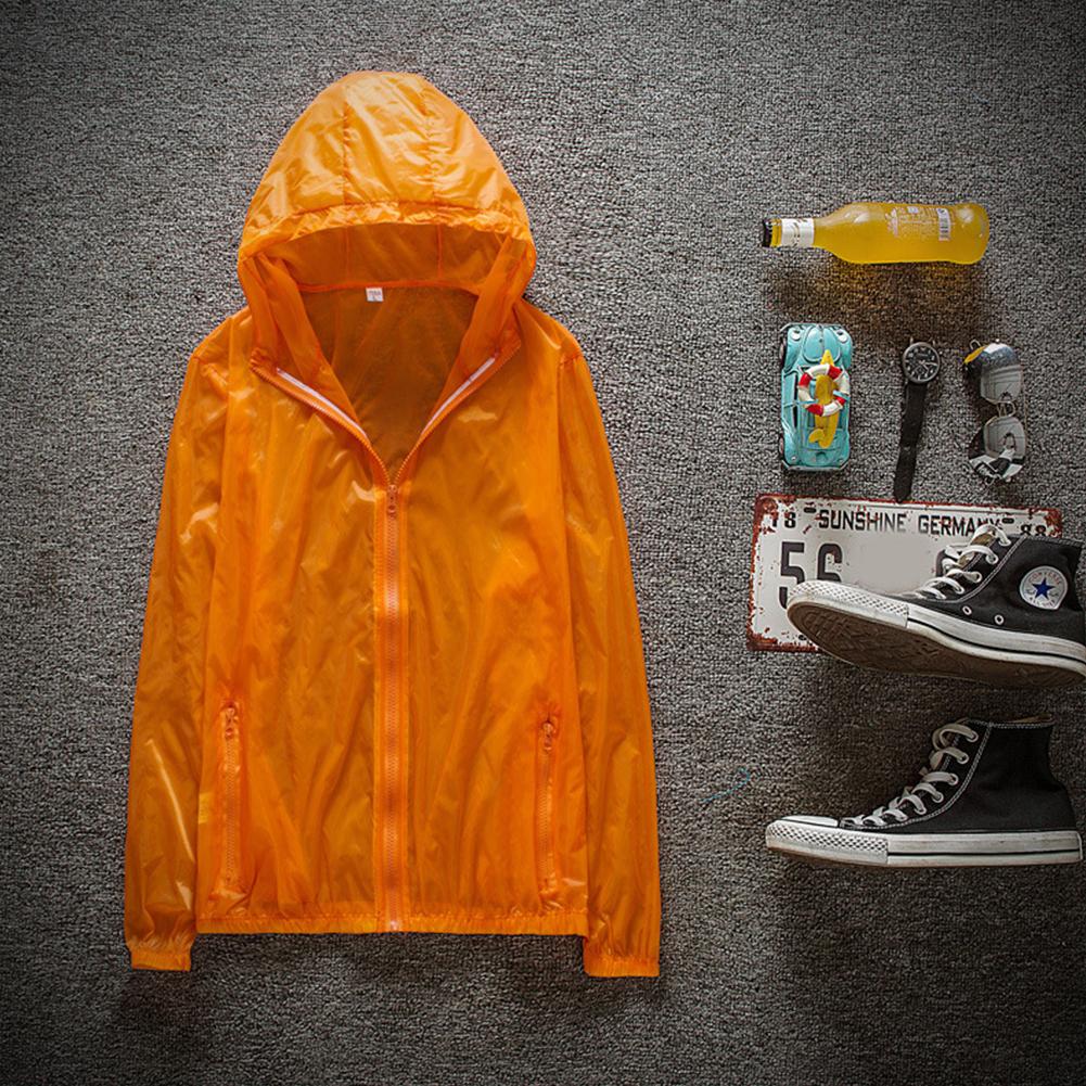 Couple Quick-drying Breathable Anti-UV Wear-resistant Sunscreen Hooded Coat Outdoor Sportswear Orange_XXXL
