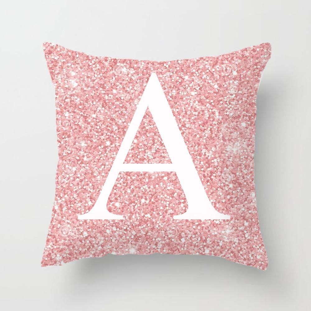 45x45cm Pink Metal Letter Peach Skin Pillowcases Decorative Cushion Cover Home Decoration 1_45*45cm
