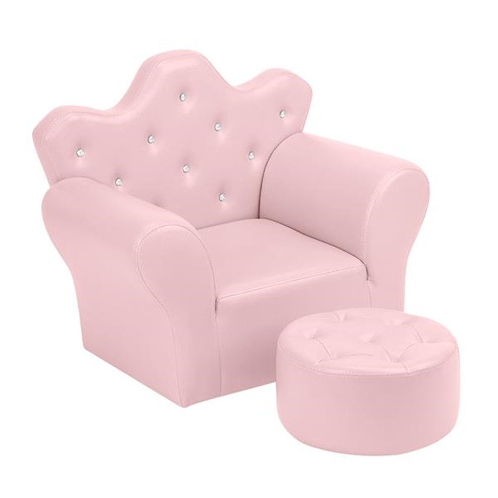 [US Direct] Children Sofa Environmental Protection Pvc Solid Wood Composite Board Crown-shape Single Sofa pink