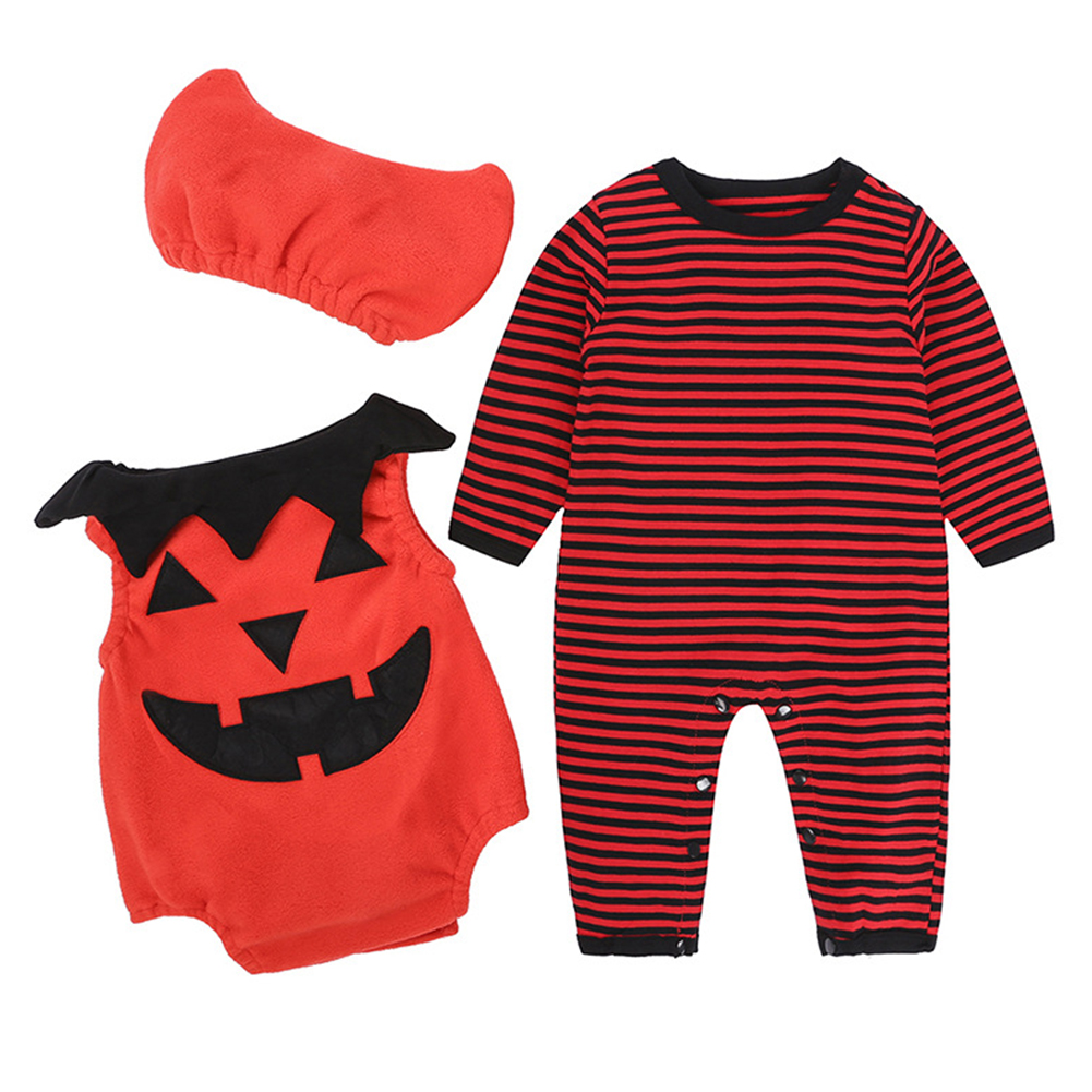3PCS Children's Halloween Performance Costume Baby Pumpkin Jumpsuit + Hat  HY2357R red stripes_95