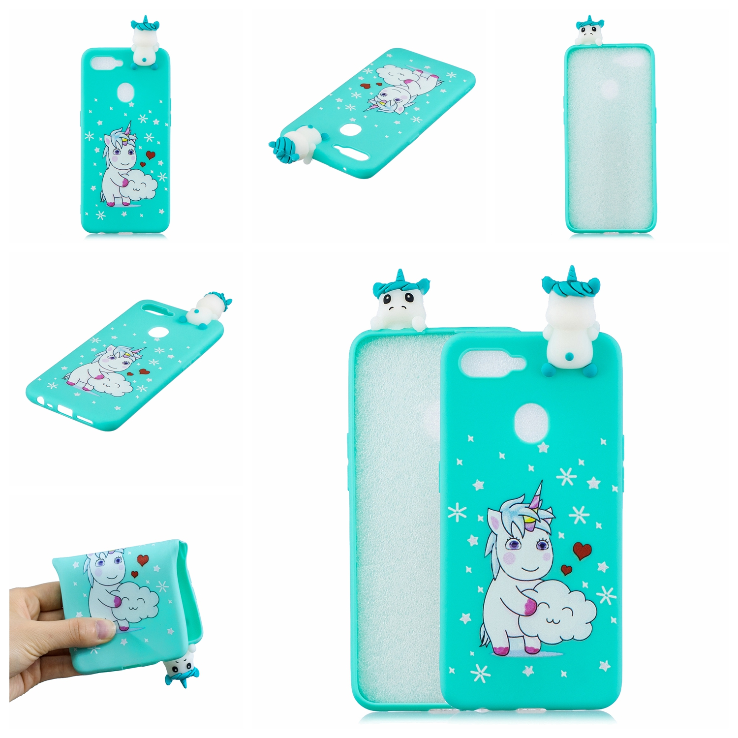 For OPPO F9/F9 PRO 3D Cute Coloured Painted Animal TPU Anti-scratch Non-slip Protective Cover Back Case Love unicorn