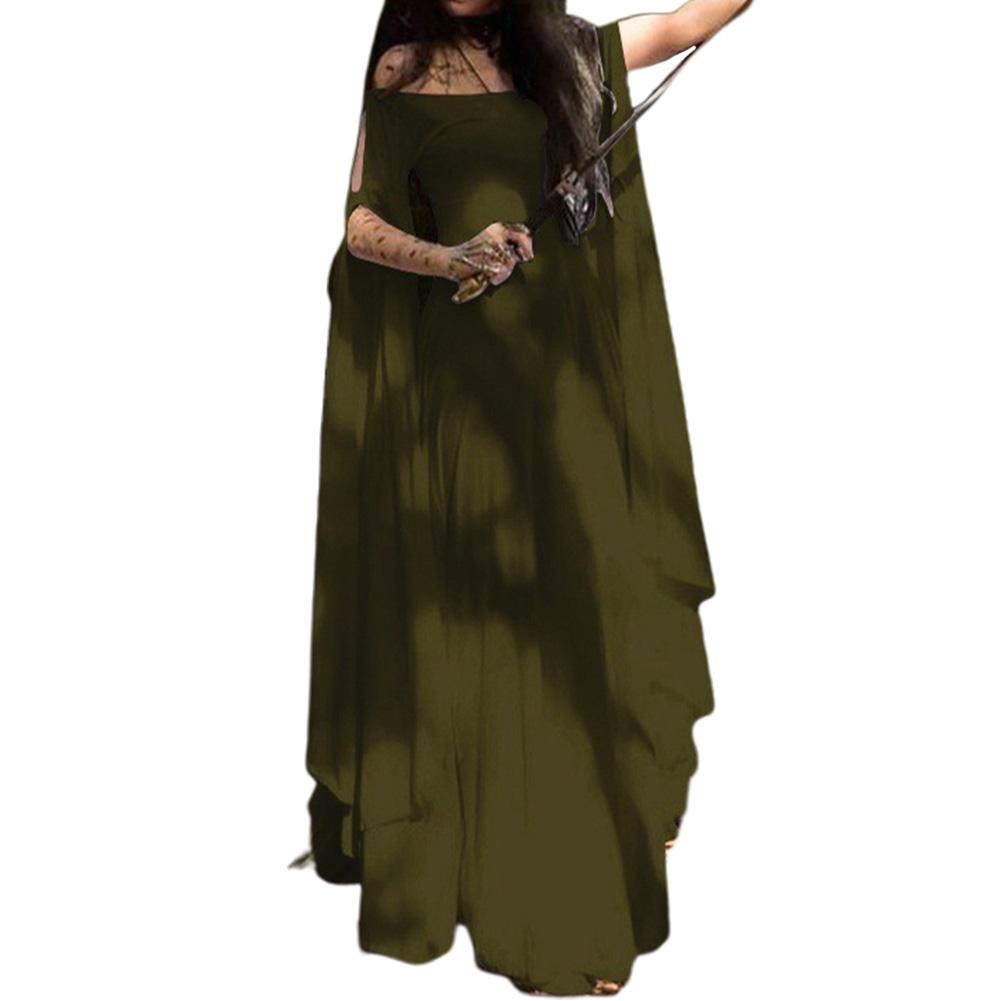 Party Long Sleeve Belt Ladies Dress Halloween Dress brown_L