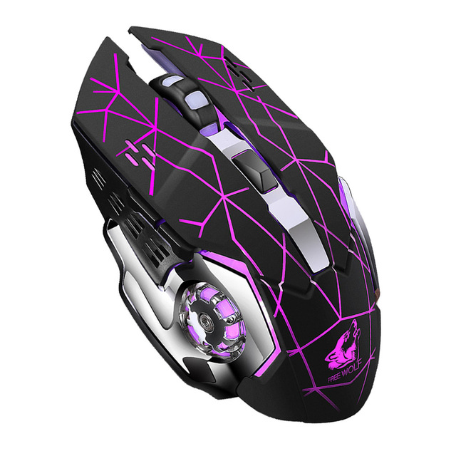 Rechargeable Wireless Silent LED Backlit Gaming Mouse USB Optical Mouse for PC black