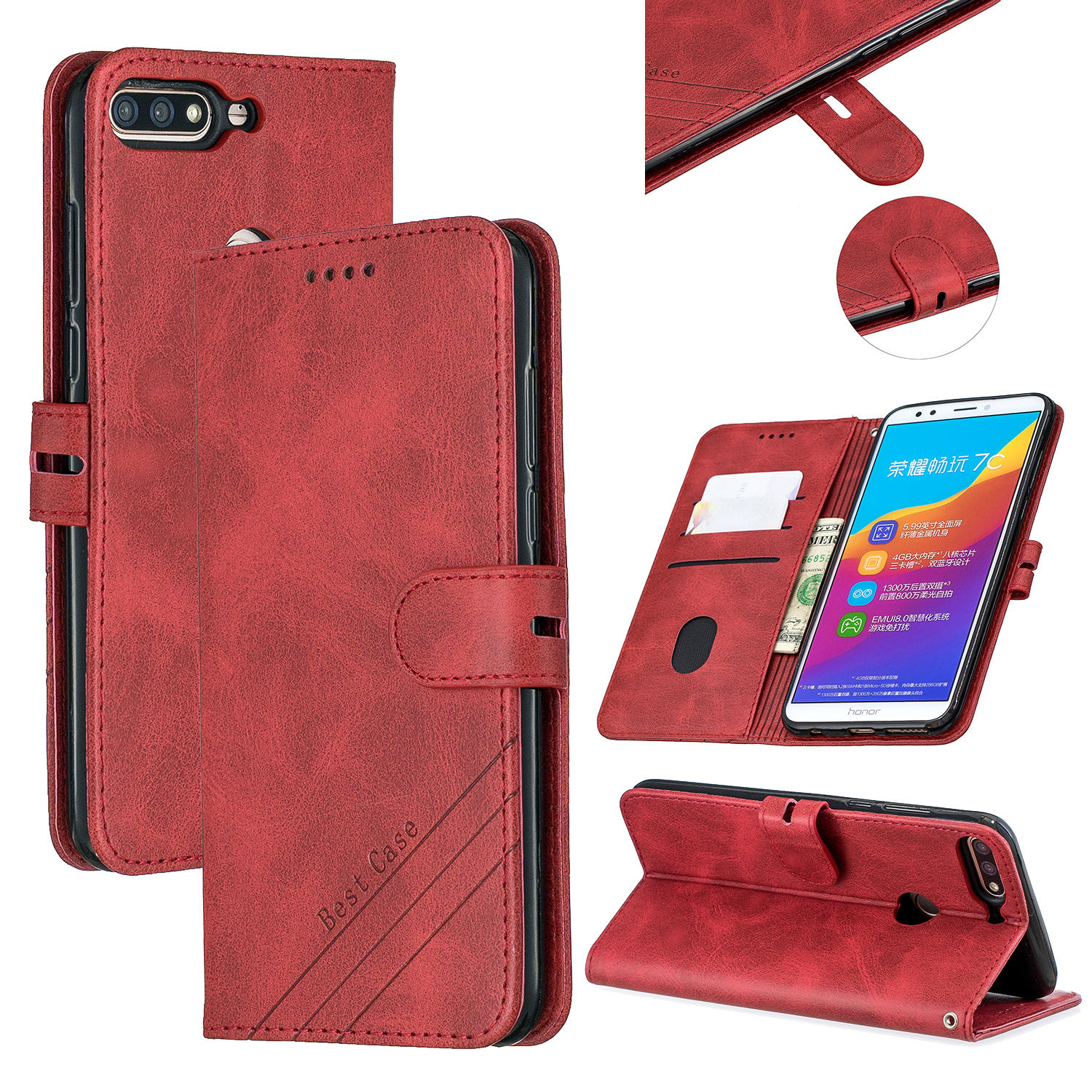 For HUAWEI Honor 7C-Enjoy 8-Y7 2018-Y7 Pro 2018 Denim Pattern Solid Color Flip Wallet PU Leather Protective Phone Case with Buckle & Bracket red