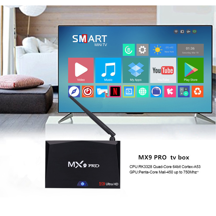 MX9 PRO   Android TV Box 4K Support, Quad-Core CPU, 4GB RAM, Google Play, Wifi, Android 7.0, 64GB SD Card Support