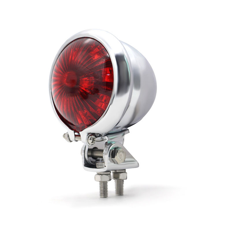Motorcycle 12v Led Cafe Racer Style Stop Tail  Light Motorbike Brake Rear Lamp Taillight Electroplating shell red cover