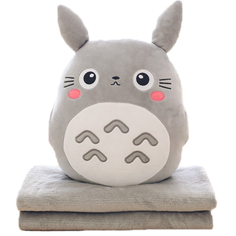 Stuffed Pillow 3 in 1 Multifunction  Chinchillas Shape Throw Pillow Blanket Hand Warm Cushion Baby Kids Gift Happy