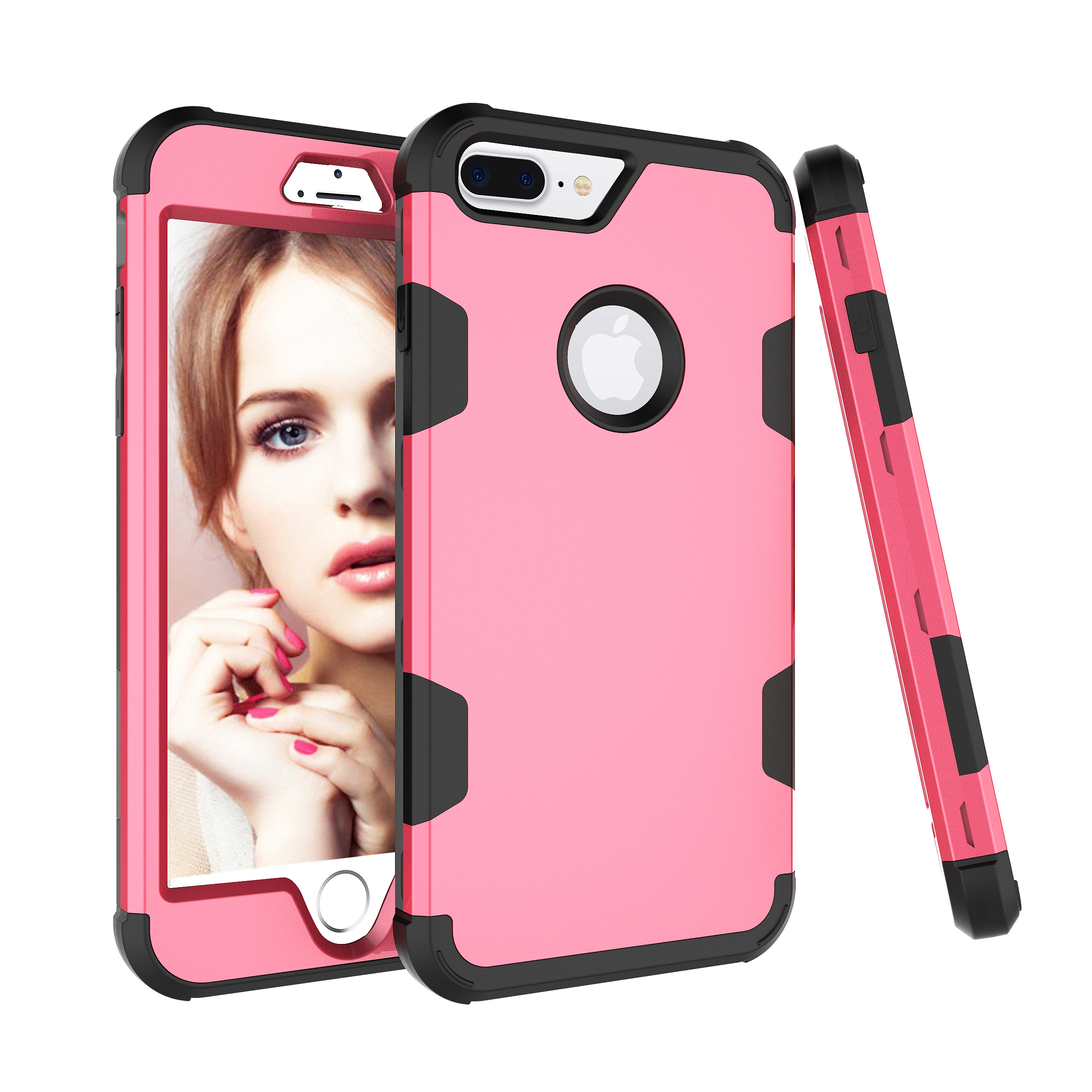 For iPhone 7 plus PC+ Silicone 2 in 1 Hit Color Tri-proof Shockproof Dustproof Anti-fall Protective Cover Back Case Rose red + black