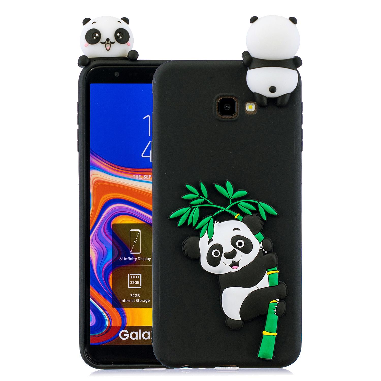 For Samsung J4 2018/J4 Plus Phone Case 3D Cartoon Panda Bamboo Cellphone Back Shell Shockproof Smartphone Cover Black