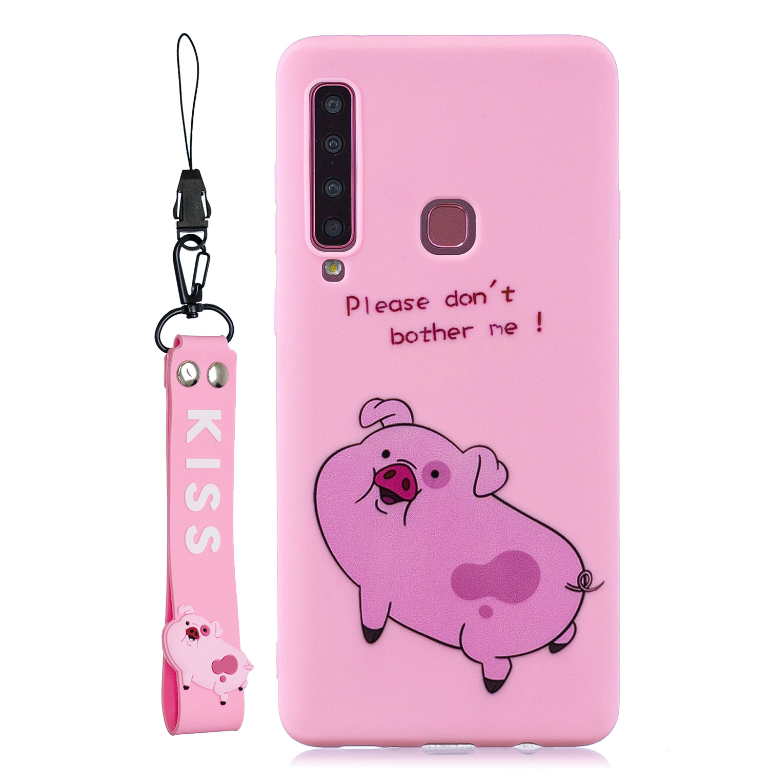 For Samsung A9 2018 Cartoon Lovely Coloured Painted Soft TPU Back Cover Non-slip Shockproof Full Protective Case with Lanyard Rose red