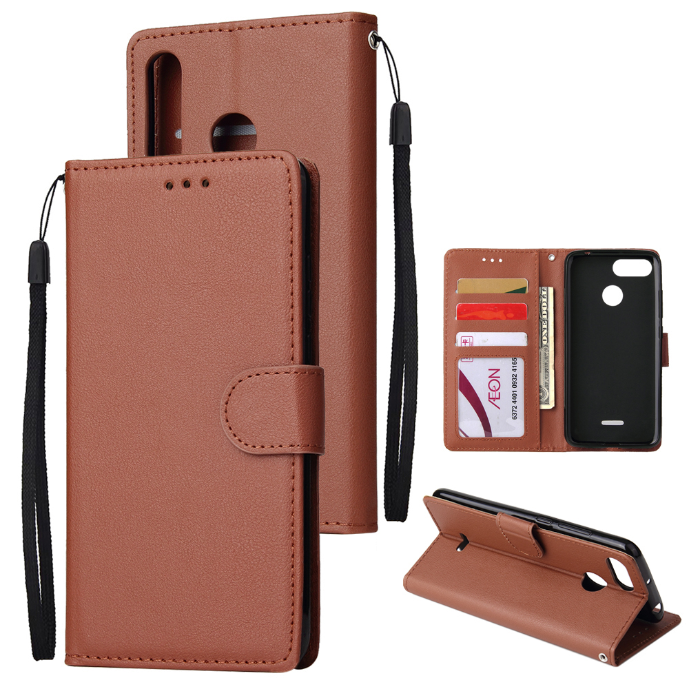 For HUAWEI P30 lite/nova 4E Flip-type Leather Protective Phone Case with 3 Card Position Buckle Design Phone Cover  brown
