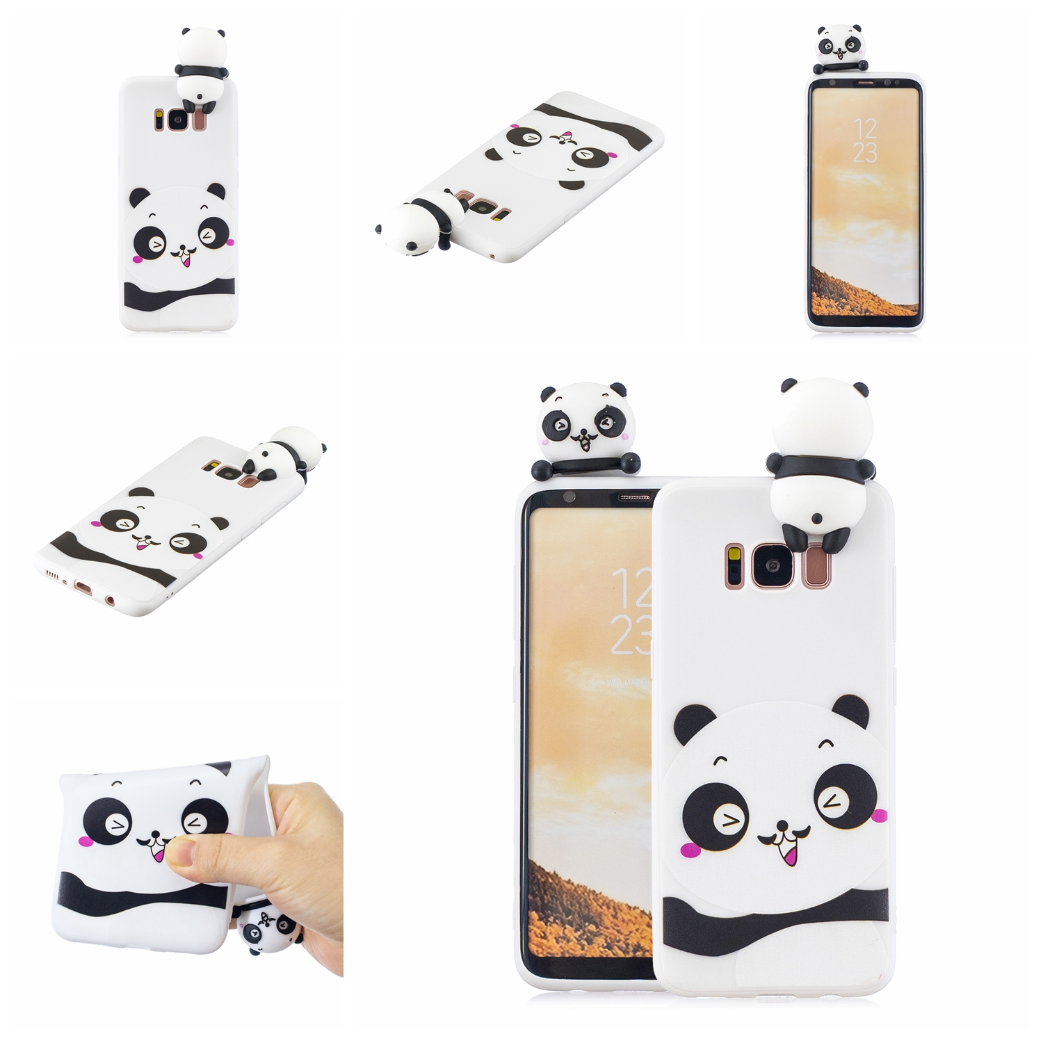 For Samsung S8 3D Cartoon Lovely Coloured Painted Soft TPU Back Cover Non-slip Shockproof Full Protective Case white
