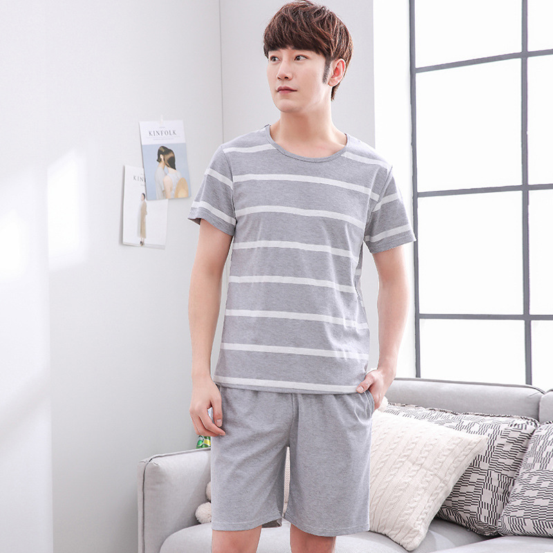 Unisex Lovers Fashion Pattern Short Sleeved Pure Cotton Loose Home Wear