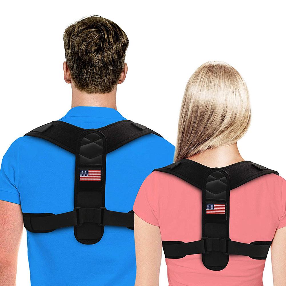 Men Women Posture Correction Shoulder Belt Impove Back Spine Corrector Humpback Pain Relief Back Support  black_One size