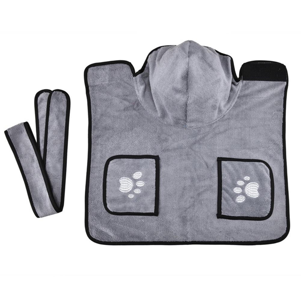 Pet Thick Bath Towel Cat Dog Quick-drying Pet Cloak Bathrobe gray_XS
