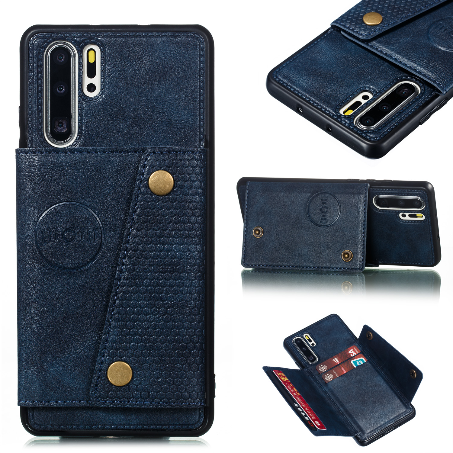 For Huawei P30 pro Double Buckle Non-slip Shockproof Cell Phone Case with Card Slot Bracket blue