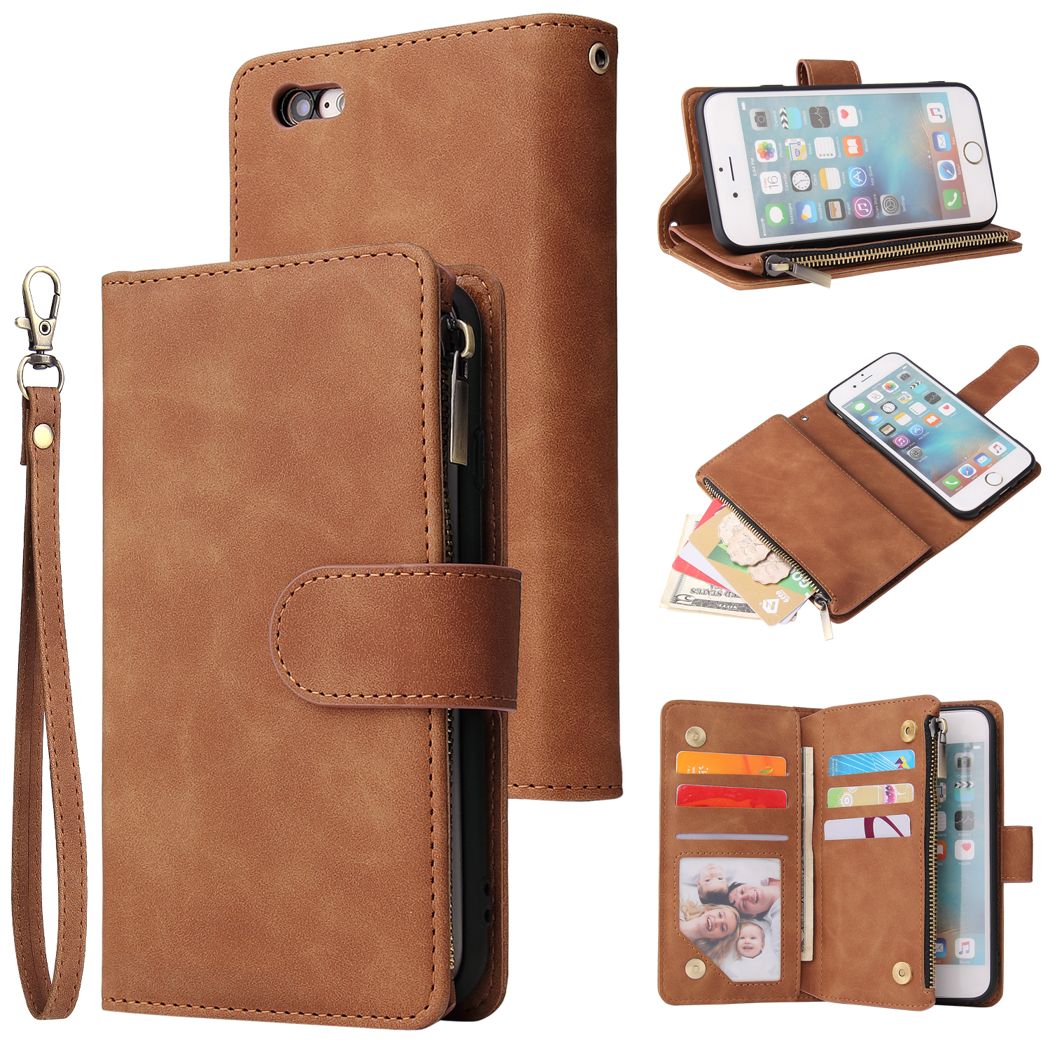 For iPhone 6 / 6S iPhone 6 plus / 6S plus iPhone 7 / 8 iPhone 7 plus / 8 plus Smart Phone Cover Coin Pocket with Cards Bracket Zipper Phone PU Leather Case Phone Cover  iPhone 6 plus / 6S plus