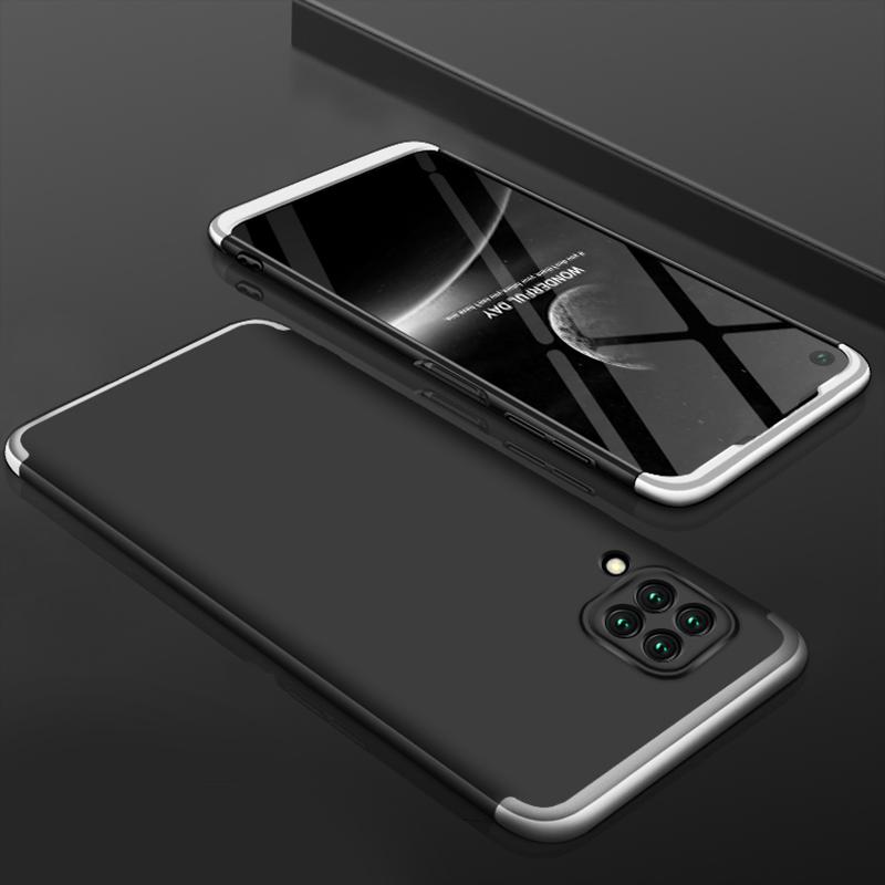 For HUAWEI Nova 6SE/P40 lite/Nova 7i Cellphone Case PC Full Protection Anti-Scratch Mobile Phone Shell Cover Silver + Black