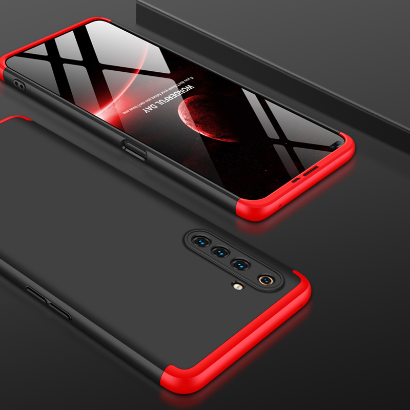 For OPPO Realme 6 Pro Cellphone Case PC Full Protection Anti-Scratch Mobile Phone Shell Cover Red + black