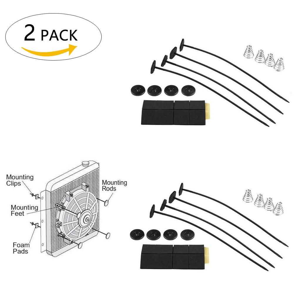 2pack Universal Fan Mount Kit Plastic Push Through Radiator Tie Strap