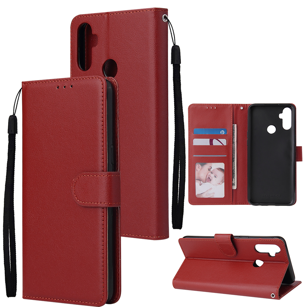 For OPPO Realme C3/Realme 6 PU Leather Mobile Phone Cover with 3 Cards Slots Phone Frame red