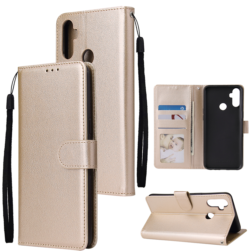 For OPPO Realme C3/Realme 6 PU Leather Mobile Phone Cover with 3 Cards Slots Phone Frame Gold
