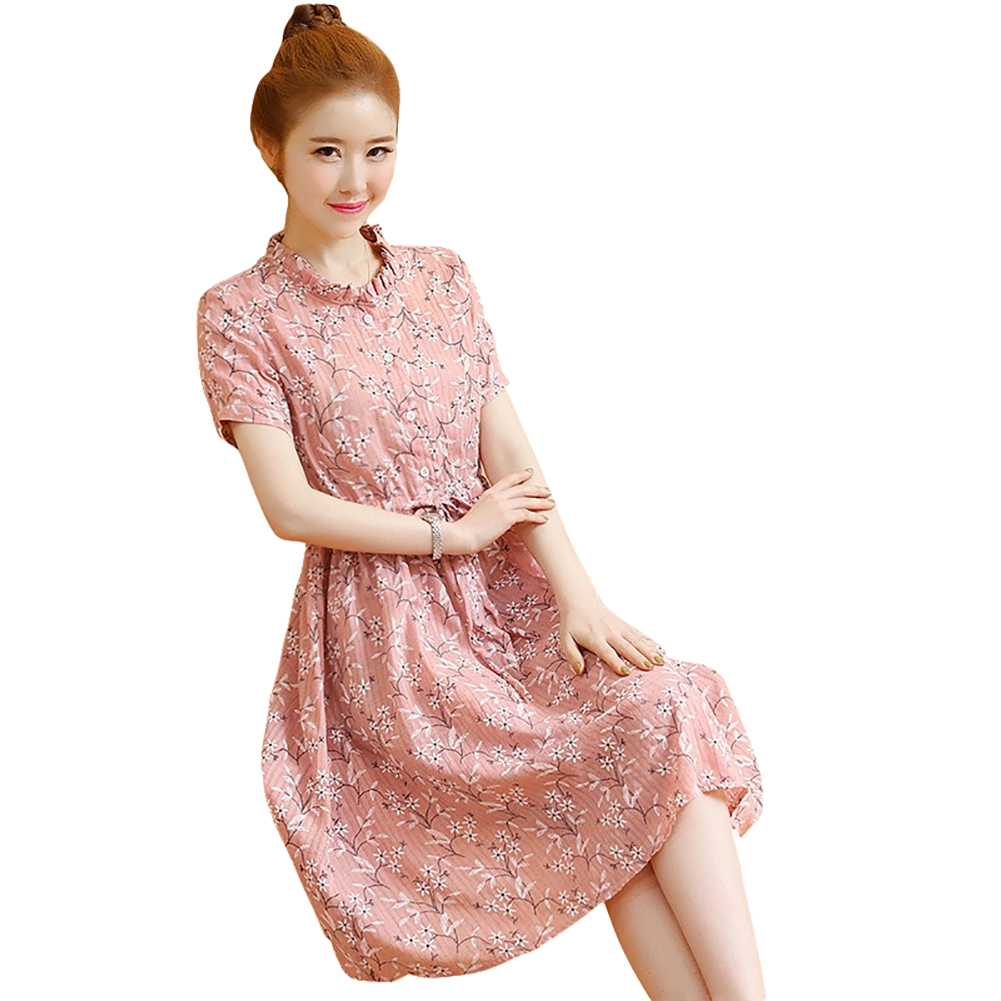 Women Floral Belt Short-Sleeve Stand Collar Casual Dress for Pregnant  red_L