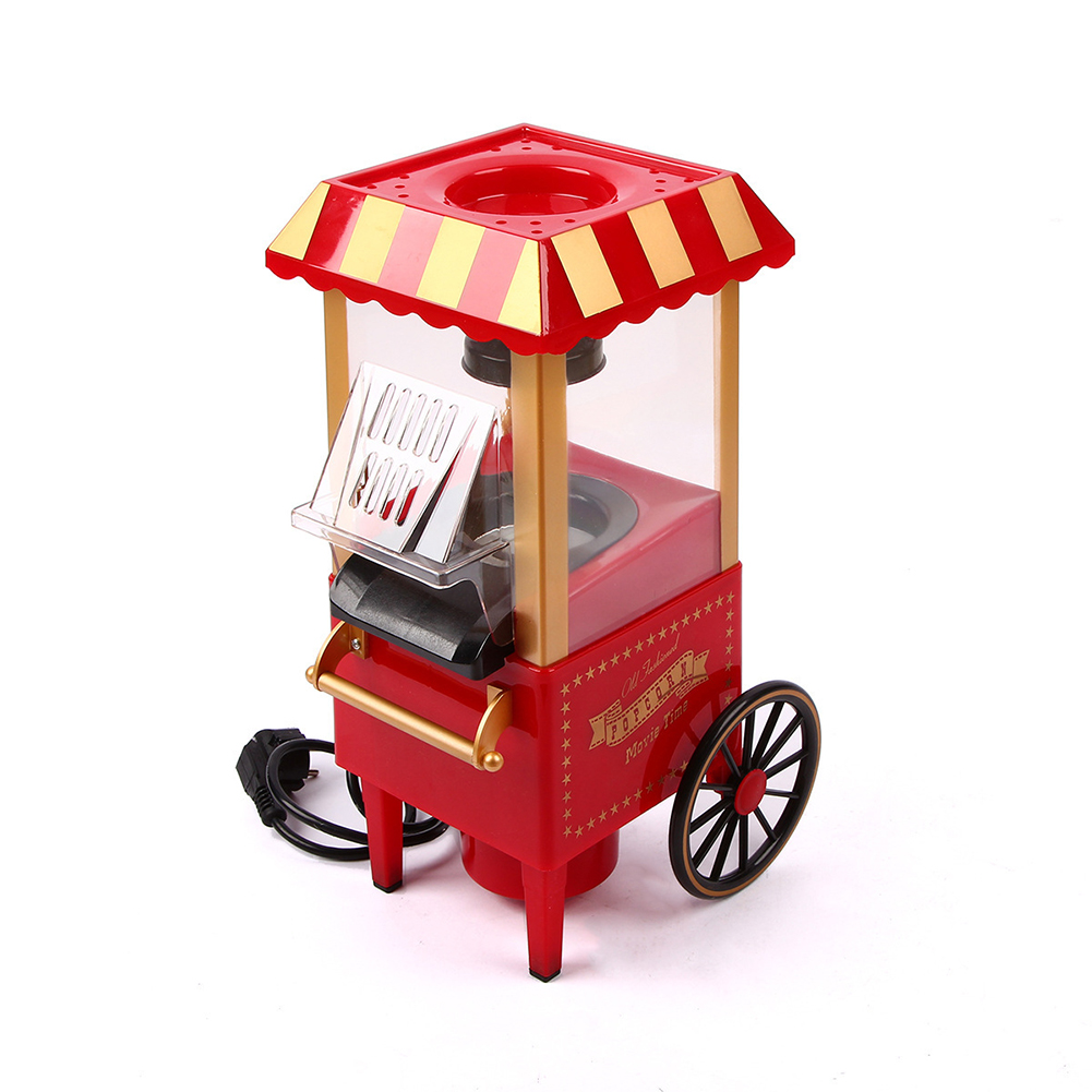 220V Home Utility Cart Shape Popcorn Popper Machine Home Party Tool red_European regulation 220V