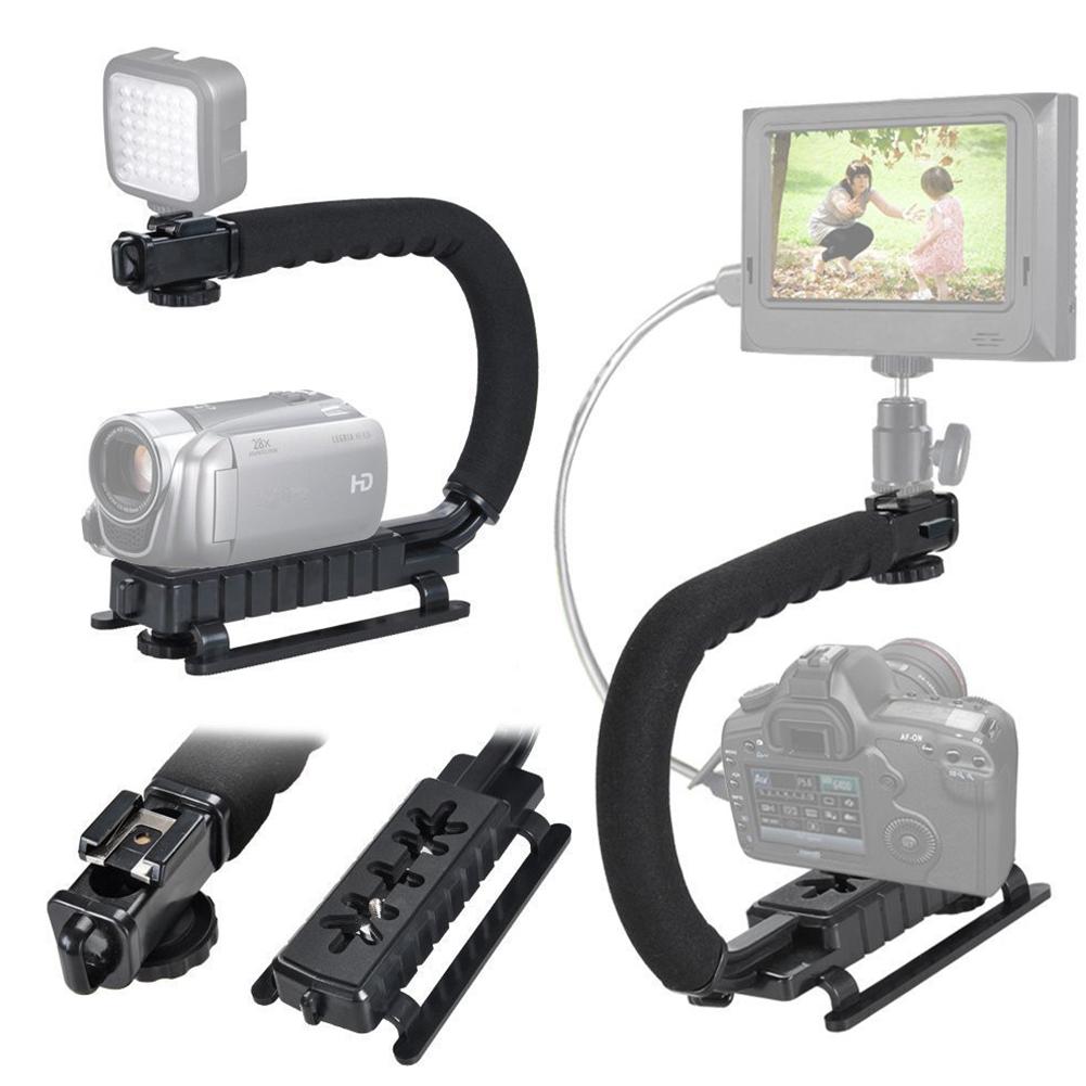 Camera Stablizer U-type Handheld Shooting Stabilizer DSLR Stabilizer Hot Shoe on Top Black