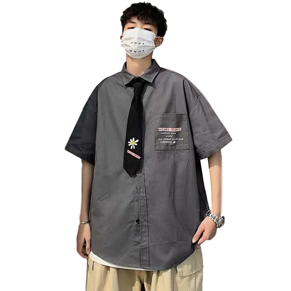 Men's Shirt Summer Daisy Pattern Loose Short-sleeve Uniform Shirts with Tie Gray _XXL